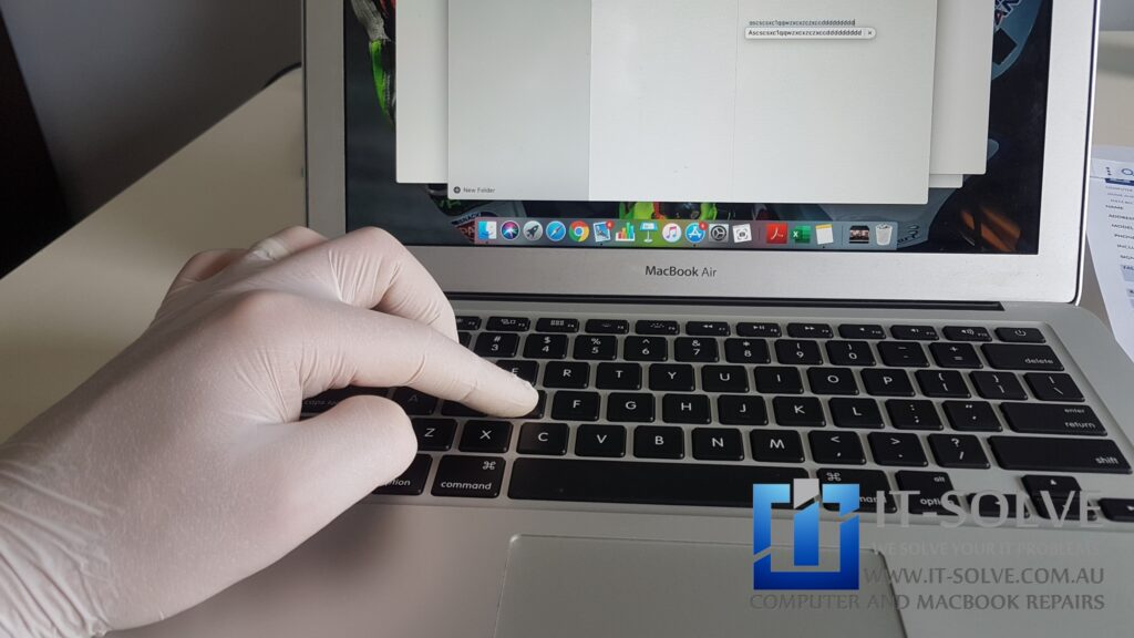 Testing each of the keys after Macbook Air Keyboard replacement