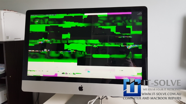 iMac Graphic Repair after colorful patches on screen
