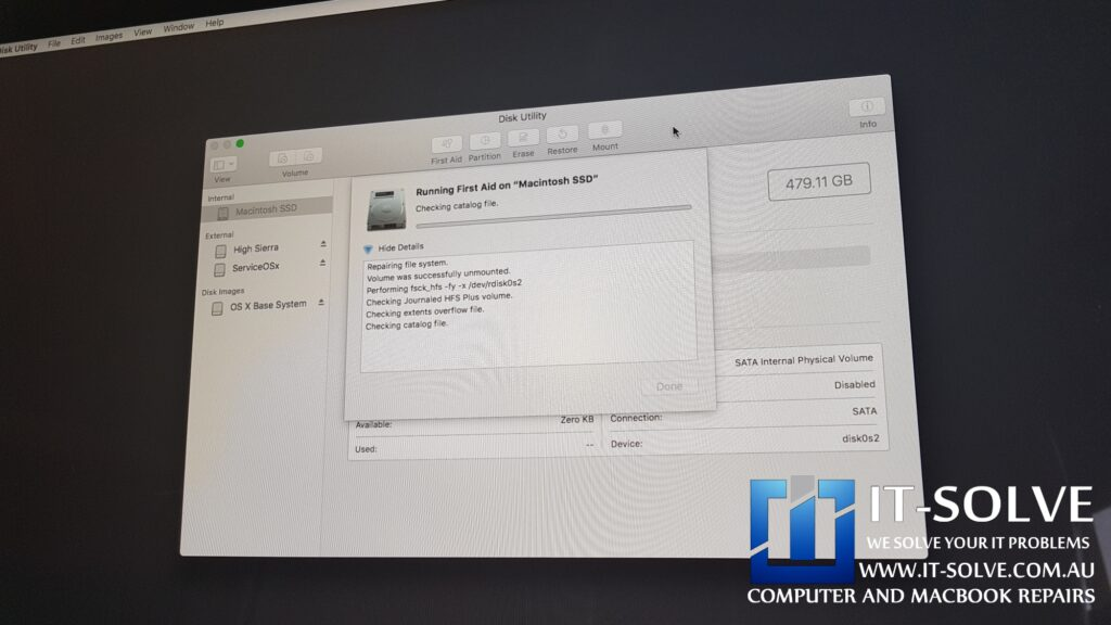 Running First Aid on iMac with a corrupted firmware update