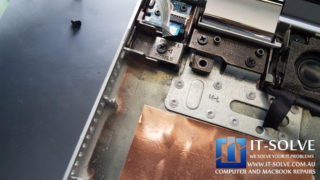 HP Envy x360 Repair - liquid signs on the bottom tray