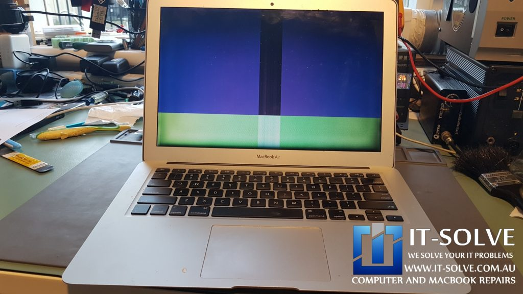 Macbook Air Repair with colorful lines on the screen