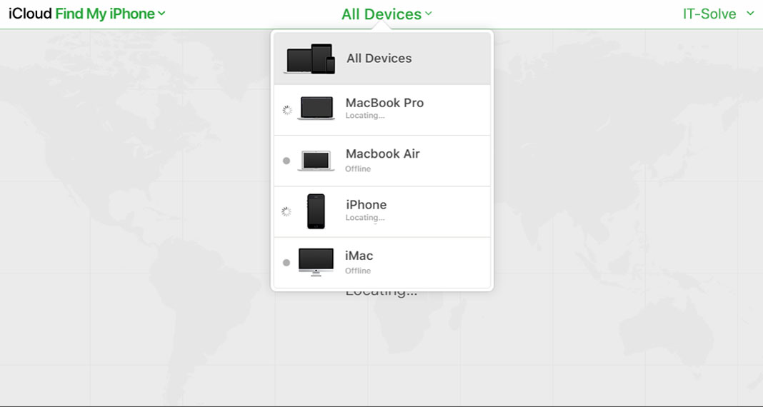 IT-Solve - iCloud Device Selection Screen