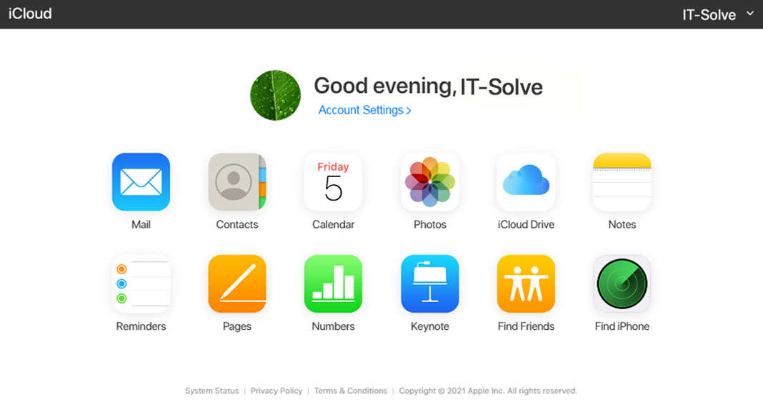 IT-Solve - iCloud Selection Screen