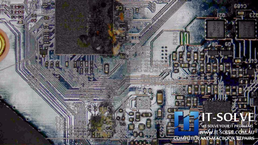 Corrosion on chips and BGA on a LG Gram Laptop Repair