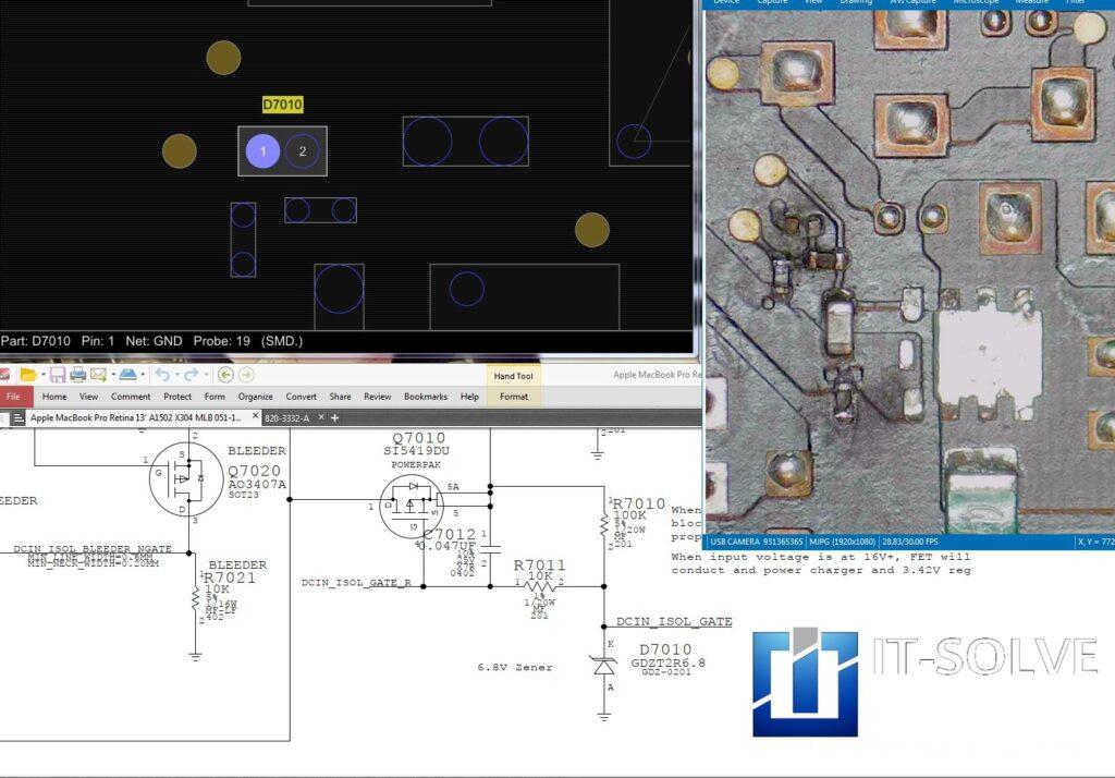 Schematic following on a Macbook Pro Liquid Spillage repair