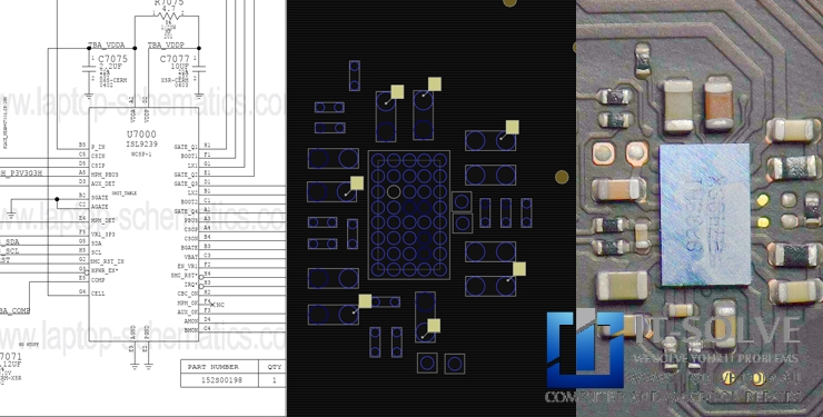 Circuit Design, Board View and Microscope view of the ISL9239 charging chip  on Macbook Pro